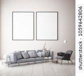 mock up poster frame in... | Shutterstock . vector #1059642806