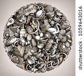 cartoon vector doodles latin... | Shutterstock .eps vector #1059643016