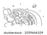 sketch astronaut man robot...   Shutterstock .eps vector #1059646109