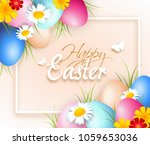 beautiful easter greeting card... | Shutterstock . vector #1059653036