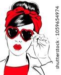 retro woman in heart sunglasses | Shutterstock .eps vector #1059654974