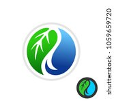 leaf and water drop logo. green ... | Shutterstock .eps vector #1059659720