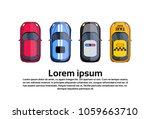 set of cars top view taxi ... | Shutterstock .eps vector #1059663710
