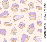 vector pastry seamless pattern... | Shutterstock .eps vector #1059671420