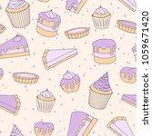 vector pastry seamless pattern... | Shutterstock .eps vector #1059671420