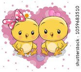 two cute cartoon chickens on a... | Shutterstock .eps vector #1059683510