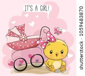 greeting card it is a girl with ... | Shutterstock .eps vector #1059683870