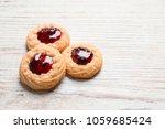 tasty cookies with jam on...   Shutterstock . vector #1059685424