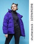 young fashion woman in short... | Shutterstock . vector #1059690398