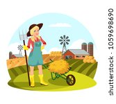 farmer female with pitchfork... | Shutterstock .eps vector #1059698690