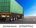 truck on highway road with... | Shutterstock . vector #1059699263