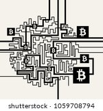 bitcoin cryptocurrency digital... | Shutterstock .eps vector #1059708794