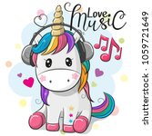 cute cartoon unicorn with... | Shutterstock .eps vector #1059721649