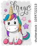 cute cartoon unicorn isolated... | Shutterstock .eps vector #1059722213