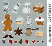 hand drawn tea time  stickers... | Shutterstock .eps vector #1059726566
