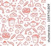vector line art iconic seamless ... | Shutterstock .eps vector #1059741809