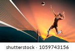 professional female volleyball...   Shutterstock . vector #1059743156