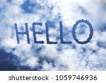 Hello Cloud Word On Blue Sky.