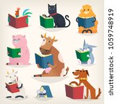 animals reading books with... | Shutterstock .eps vector #1059748919