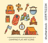 set of isolated summer camping... | Shutterstock .eps vector #1059752234