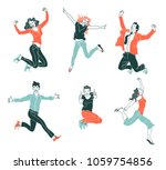 Stock vector jumping people isolated on white background various poses jumping people character hand drawn 1059754856