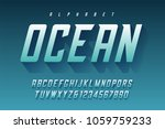 condensed retro display font... | Shutterstock .eps vector #1059759233
