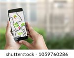 gps map to route destination... | Shutterstock . vector #1059760286