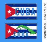 cuba car number plate. vehicle... | Shutterstock .eps vector #1059771770