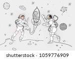 creative hand drawn collage... | Shutterstock . vector #1059776909