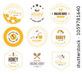 honey bee label and sticker... | Shutterstock .eps vector #1059781640