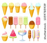 ice cream set. colorful ice... | Shutterstock .eps vector #1059785939