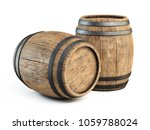 two wooden barrels isolated on... | Shutterstock . vector #1059788024