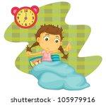 illustration of a girl awaken... | Shutterstock .eps vector #105979916