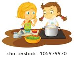 illustration of a girls cooking ... | Shutterstock .eps vector #105979970