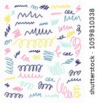 set of hand drawn scribbles... | Shutterstock .eps vector #1059810338