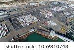 aerial dover harbor lorries... | Shutterstock . vector #1059810743