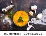 pea soup in glass bowl  pea... | Shutterstock . vector #1059810923
