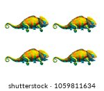 sprite sheet of cute chameleon  ... | Shutterstock . vector #1059811634