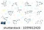 constellation doodles. zodiac... | Shutterstock .eps vector #1059812420