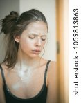 woman face with silver body... | Shutterstock . vector #1059813863