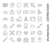 programming icons set. linear...