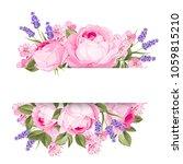 blooming spring flowers garland ... | Shutterstock .eps vector #1059815210