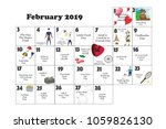 2019 february monthly calendar... | Shutterstock . vector #1059826130