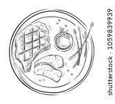 delicious fried meat steak... | Shutterstock .eps vector #1059839939