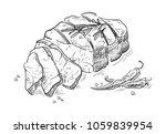 delicious fried meat steak... | Shutterstock .eps vector #1059839954