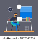 man is sitting legs crossed and ... | Shutterstock .eps vector #1059843956