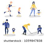 set of parents and kids doing... | Shutterstock .eps vector #1059847838
