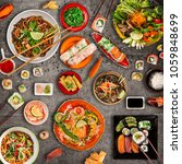 various of asian meals on... | Shutterstock . vector #1059848699