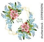 watercolor illustration  hello...   Shutterstock . vector #1059854096