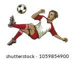 soccer player doing overhead... | Shutterstock .eps vector #1059854900